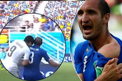 "Luis Suárez beet al drie spelers tijdens een match, 'slachtoffer' Chiellini: ""Ik bewonder hem"""