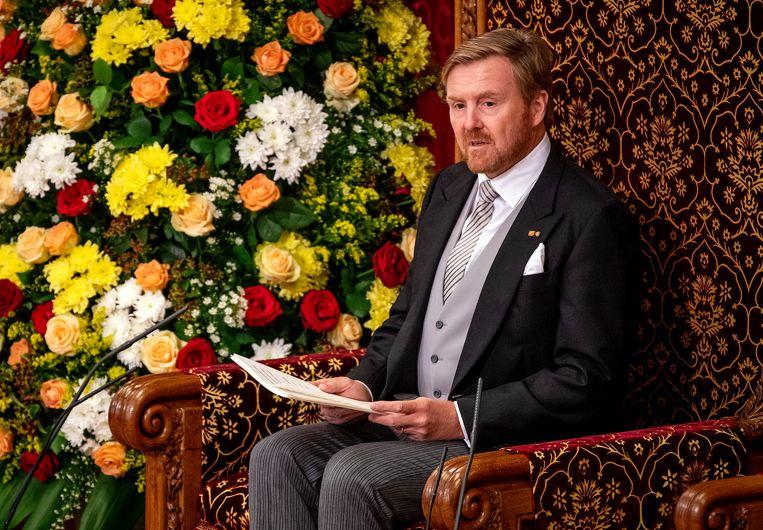 Koning Willem-Alexander tijdens de Troonrede van 2019. Beeld ANP