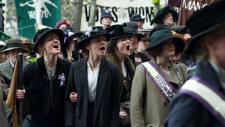 Anne-Marie Duff, Carey Mulligan en Helena Bonham Carter in Suffragette Beeld .
