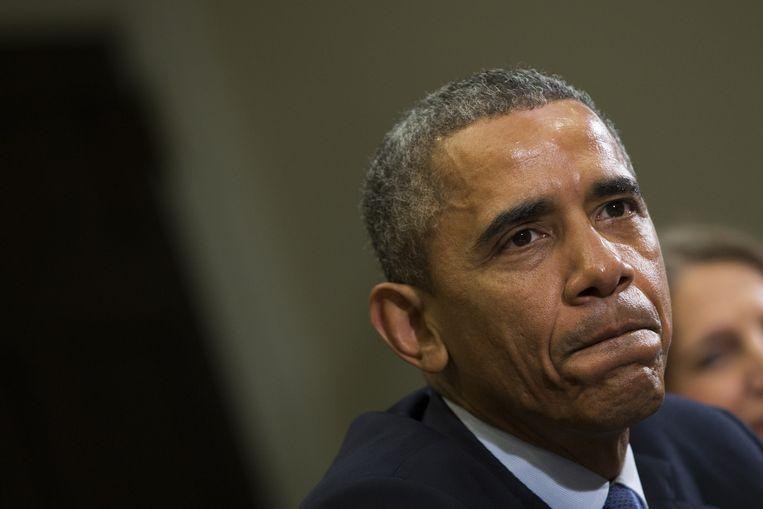 Obama vandaag tijdens een persconferentie.