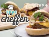 Home-made hamburgers met cheddar