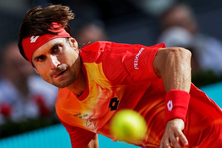 David Ferrer tijdens de gewonnen wedstrijd tegen Roberto Bautista Agut. Beeld AP
