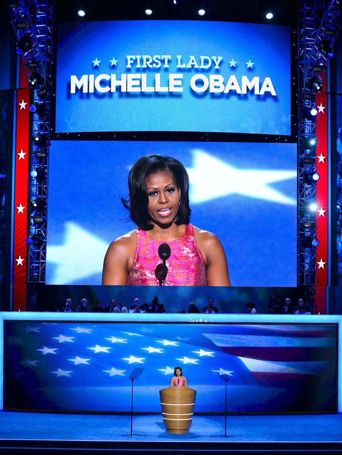 Michelle Obama tijdens de Democratische conventie.
