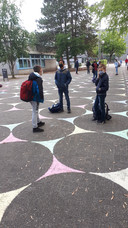 De cirkels op het plein in Gronau.
