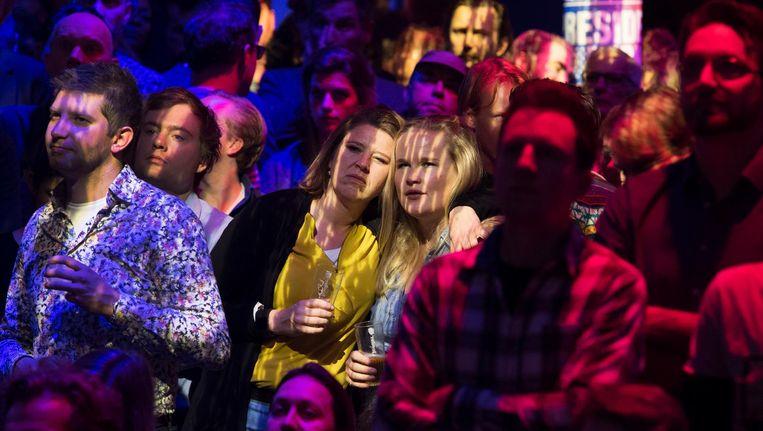 Aanhangers van Hillary Clinton tijdens de Presidents Night in de Melkweg Beeld ANP