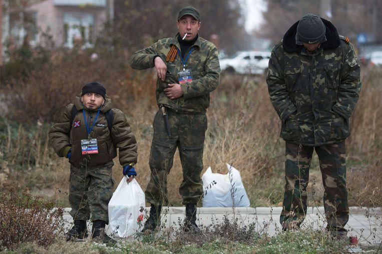 Pro-Russische militairen in de Oost-Oekraïense stad Donetsk. Beeld AFP