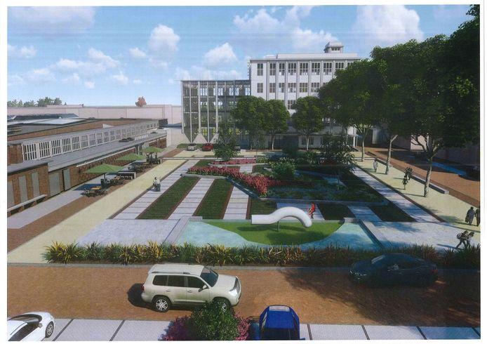 Impressie van de nieuwe inrichting, met links een terras voor het grand café en in het midden het witte kunstwerk, bekend als de 'peuk'.