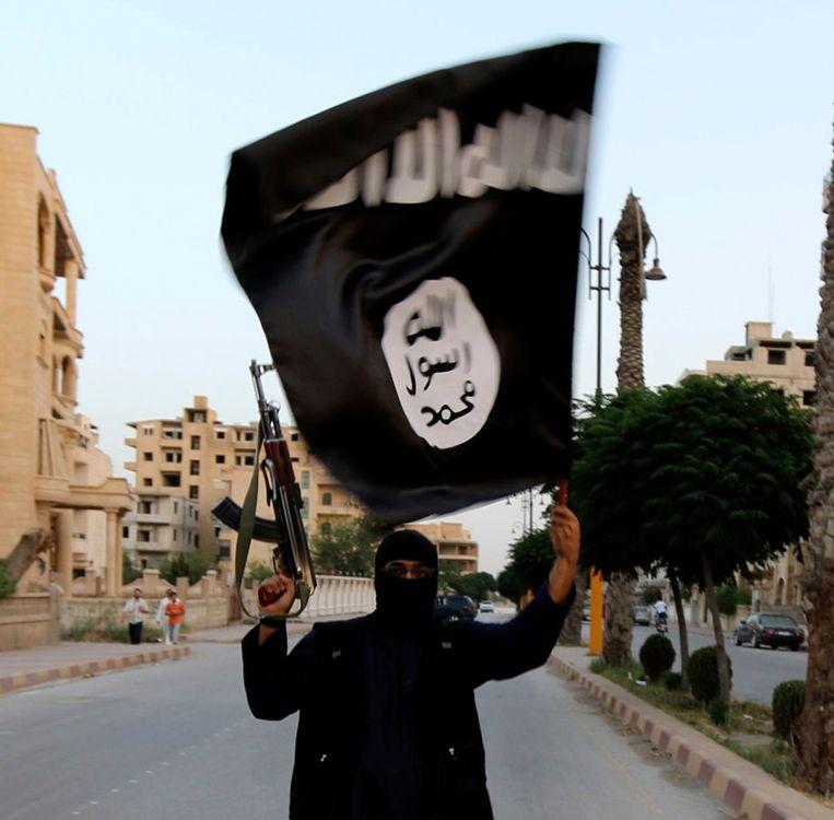 Een strijder van IS in Syrië met de vlag van de terreurbeweging. Ook in de Sinaï is een aan IS gelieerde jihadistische organisatie actief, en mogelijk verantwoordelijk voor het neerstorten van de Russische Airbus. Beeld REUTERS