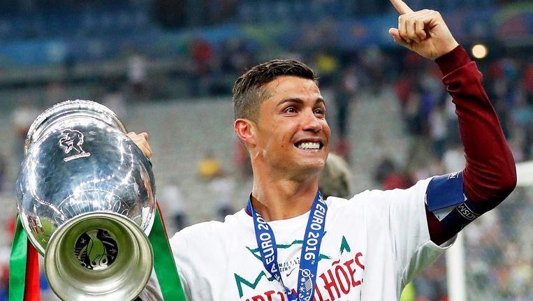 Ronaldo na de finale van het EK. Beeld EPA