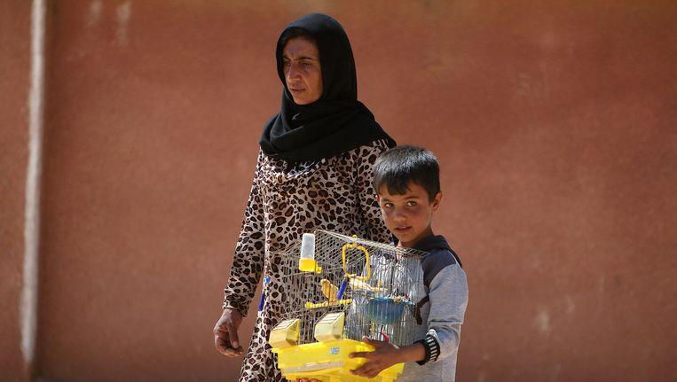 Een vrouw en een jongen ontvluchten Manbij. Ze nemen hun vogelkooi - met inhoud - mee. Beeld reuters