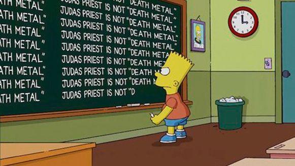 """'Judas Priest is not """"Death Metal""""'. Zo excuseerden de The Simpsons-schrijvers zich voor hun misser."""