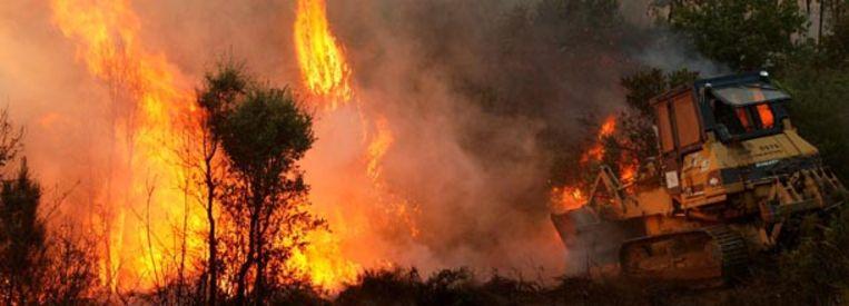 Een bulldozer verschuift dinsdag vuil in een poging een bosbrand te bestrijden bij Valongo, ten oosten van Porto. (AP) Beeld null