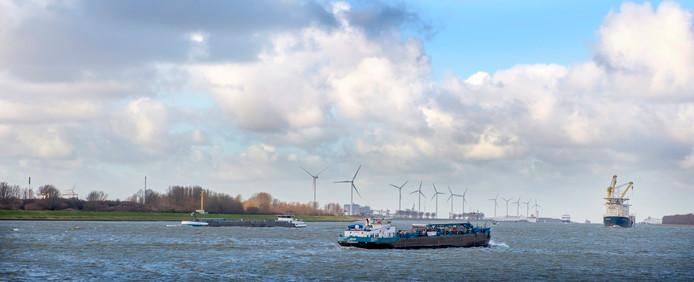Windmolens op de landtong bij Rozenburg