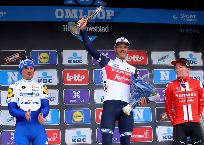 Het podium: Lampaert, Stuyven en Kragh Andersen.