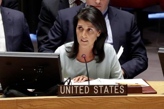De Amerikaanse ambassadeur bij de Verenigde Naties, Nikki Haley.