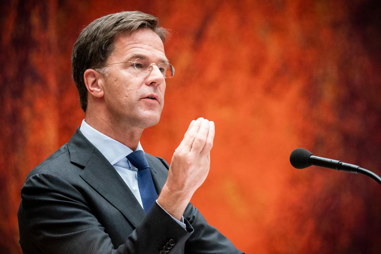 Premier Mark Rutte tijdens dag twee van de Algemene Politieke Beschouwingen in de Tweede Kamer.  Beeld Foto Freek van den Bergh / de Volkskrant