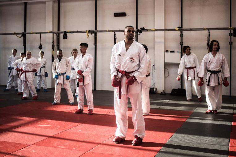 Tyron Lardy bij de training in sportcentrum Kenamju in Haarlem. Beeld Joris Van Gennip
