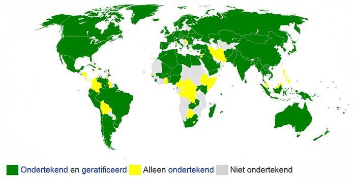 128 landen hebben het ruimteverdrag ondertekend.