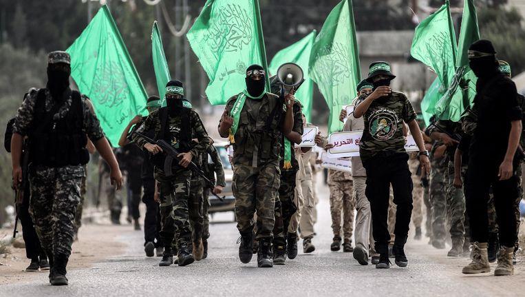 Leden van de Palestijnse Hamas beweging. Beeld afp
