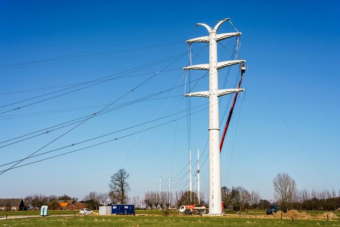 De 380 kV-hoogspanningsleiding Doetinchem-Wesel op het punt waar deze de grens met Duitsland passeert. De nieuwe hoogspanningsmasten zien er heel anders uit dan de oude.
