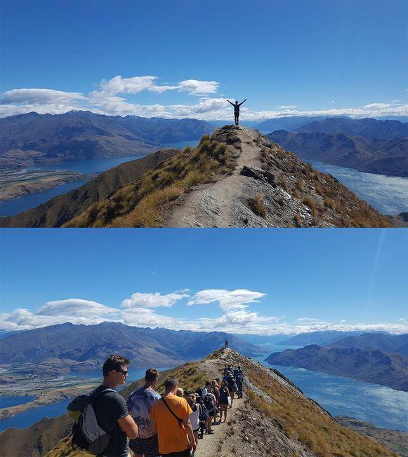 Toeristen schuiven netjes aan voor een foto op Roys Peak in Nieuw-Zeeland.