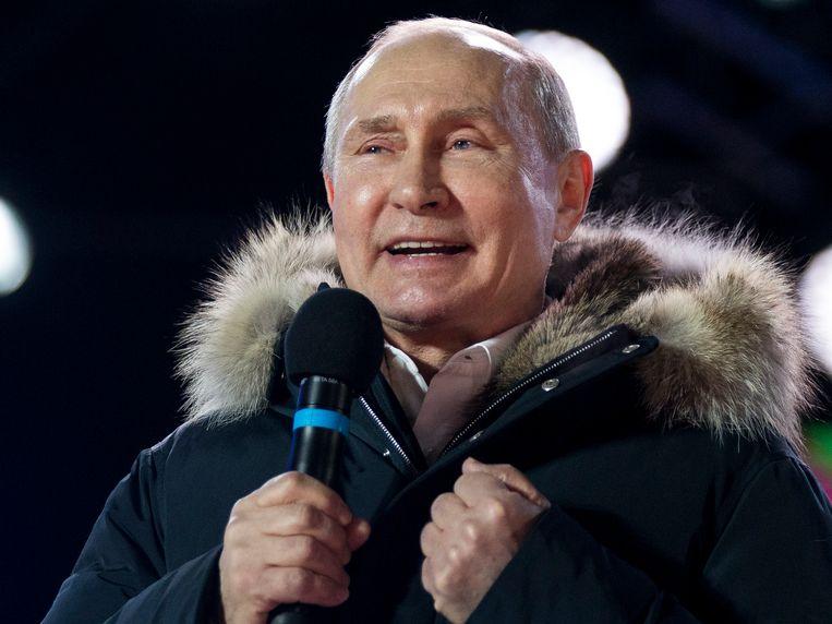 Vladimir Poetin bedankt de Russische bevolking voor de steun en het in hem gestelde vertrouwen.