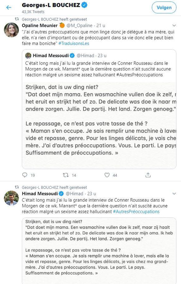 De retweets van Bouchez.