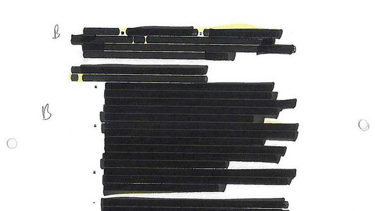 Een onleesbaar gemaakte pagina uit de MH17-verslagen. Beeld