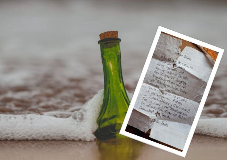 De fles die de 13-jarige Paula in het water gooide in 2012, spoelt acht jaar later aan.