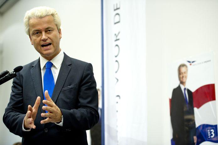 PVV-leider Geert Wilders begin juli bij de presentatie van het verkiezingsprogramma van zijn partij.