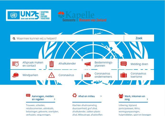 Kapelle zet geen gebouwen in blauw licht. De gemeente houdt het bij een VN-blauwe website.