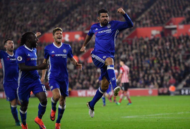 Diego Costa scoorde voor Chelsea. Beeld Proshots