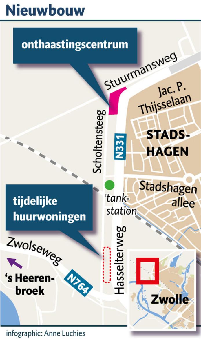 Het onthaastingscentrum is gepland langs het meest noordelijke deel van de Scholtensteeg. Iets zuidelijker komen de - omstreden - 106 tijdelijke huurwoningen.