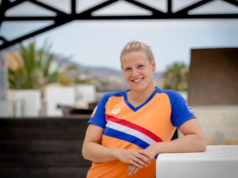 Maud van der Meer tijdens het trainingskamp van de Nederlandse zwemploeg op Tenerife. Beeld ANP