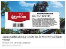 Efteling, KLM en Walibi balen van nepactie voor gratis tickets op Facebook