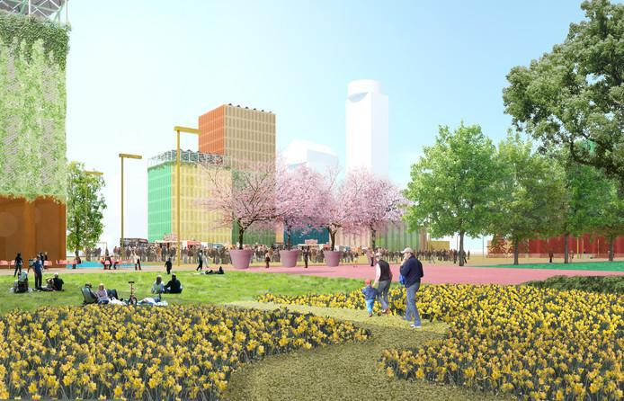 Een impressie van het toekomstig dakpark op de hallen van de nieuwe Jaarbeurs.
