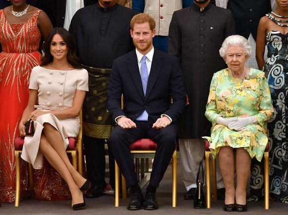 Meghan, Harry en de Queen.