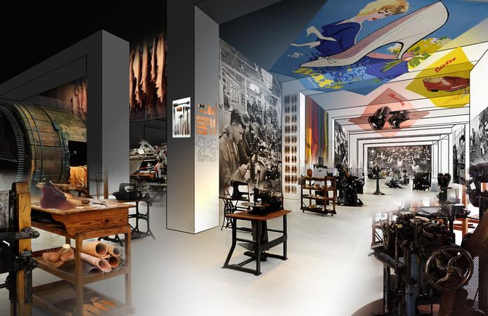 Een eerdere impressie van het nieuwe schoenenmuseum in Waalwijk. Het gaat om een voorlopige schets.