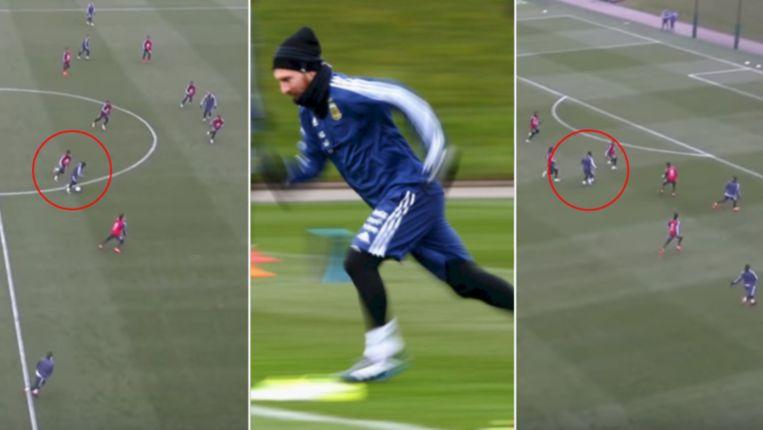 Messi imponeerde op training met een fantastische goal.