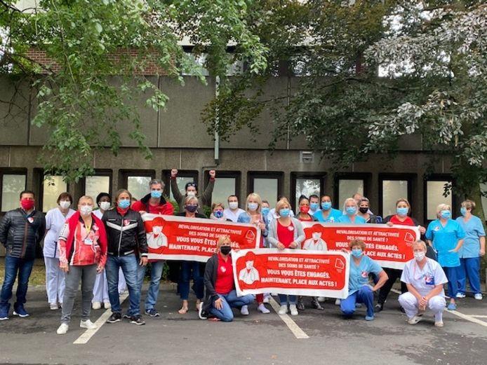 Manifestation à l'hôpital Sainte-Thérèse à Montignies-sur-Sambre (Charleroi)