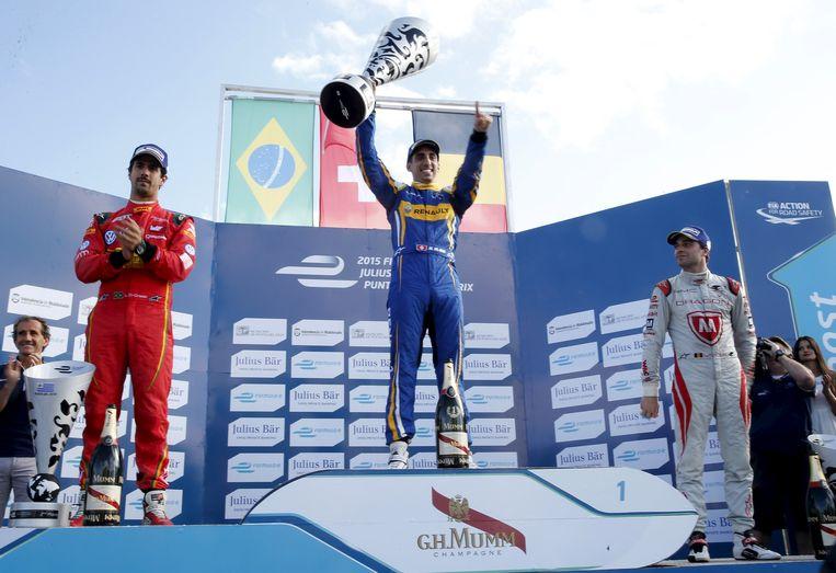 D'Ambrosio (rechts) op het podium met winnaar Buemi (midden) en Di Grassi (links), die tweede werd