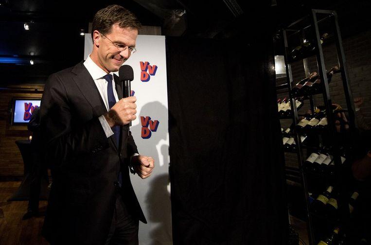 VVD-leider Rutte spreekt zijn achterban toe. Beeld anp