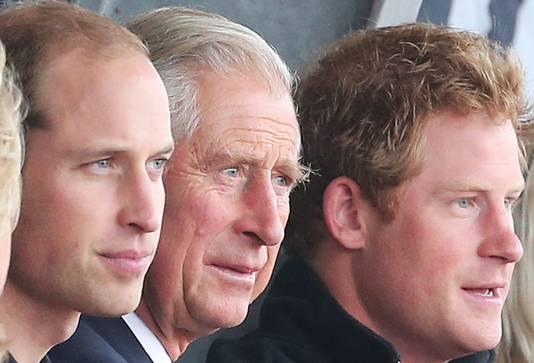 Prins Charles (m) met zijn oudste zoon William (l) en zijn jongste zoon Harry (r).