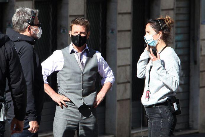"""Tom Cruise sur le tournage de """"Mission Impossible 7"""" à Rome."""