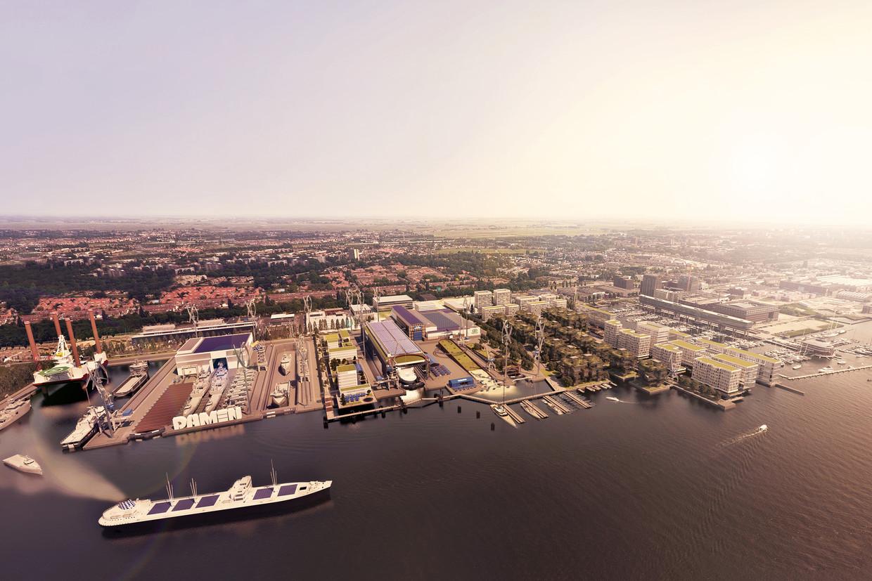 In de plannen van Damen Shiprepair wordt het kleinste dok (midden) overkapt en zo meteen een buffer tussen het  grootste dok en de appartementen. Beeld Droogburo Marijn Droog