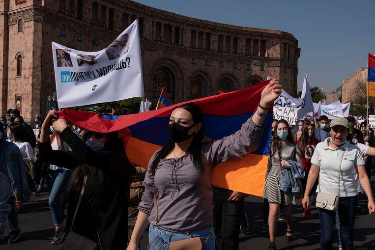 Een demonstratie tegen de oorlog. Beeld Giulio Piscitelli