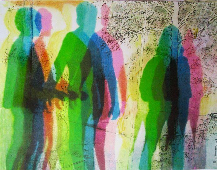 'Aarzeling' is de titel van het werk van Rudy van Amersvoort waarop hij de 1,5 meterregel uitbeeldt.