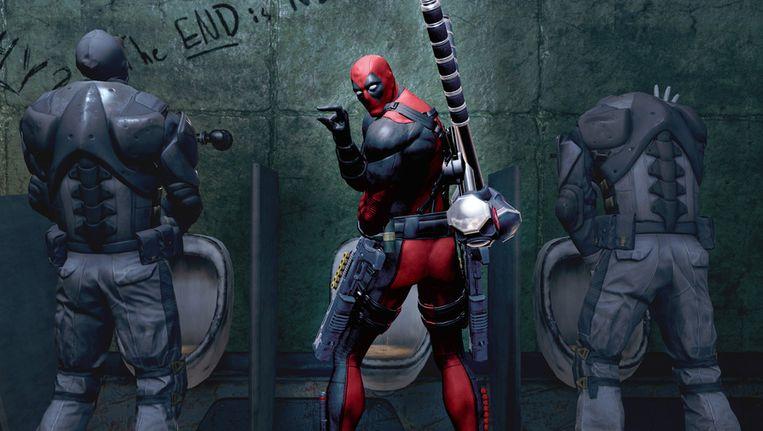 Pisbakkenhumor in Deadpool. Beeld null