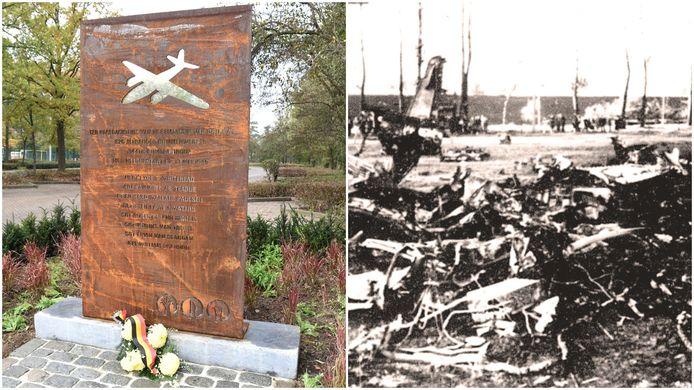 75 jaar nadat acht militairen het leven lieten bij een vliegtuigcrash in Huizingen is de bemanning postuum geëerd met een gedenkplaat aan de Beemd.