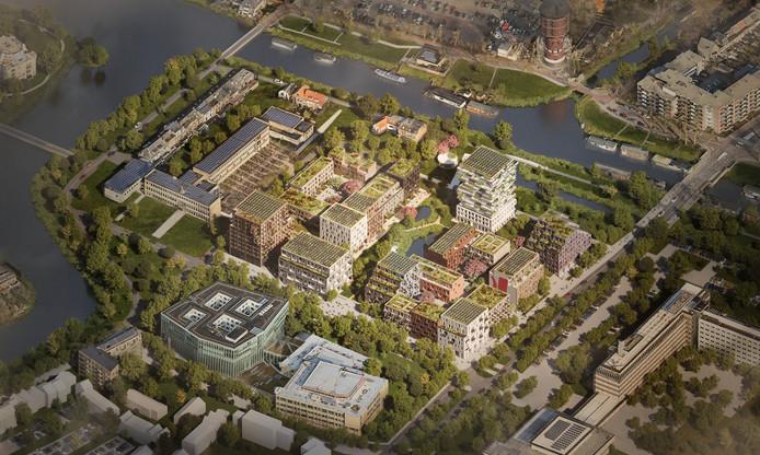 """Een impressie van de plannen van Nijhuis Bouw voor nieuwbouw bij Weezenlanden-Noord. Het is een van de projecten waar het bedrijf nu voorbereidingen voor treft. ,,We onderzoeken nog hoeveel last we hebben van de PFAS-regels, maar de onzekerheid maakt het lastig."""""""